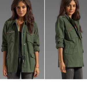 BB Dakota Tawny Studded Green Utility Jacket Large
